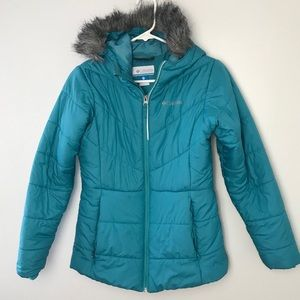 Columbia Puffy Teal Coat